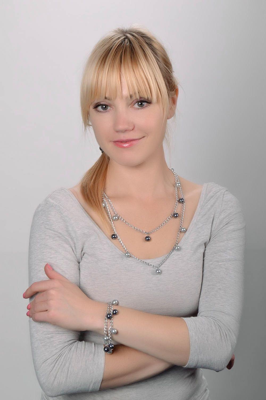 Schmuck Set: Kette und Armband mit böhmischen Glasperlen foto 1