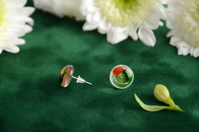 Beautiful stud earrings glass fusing technique handmade designer accessory photo 1