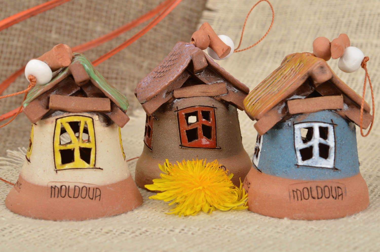 Set of handmade designer clay bells coated with glaze Houses 3 pieces photo 1