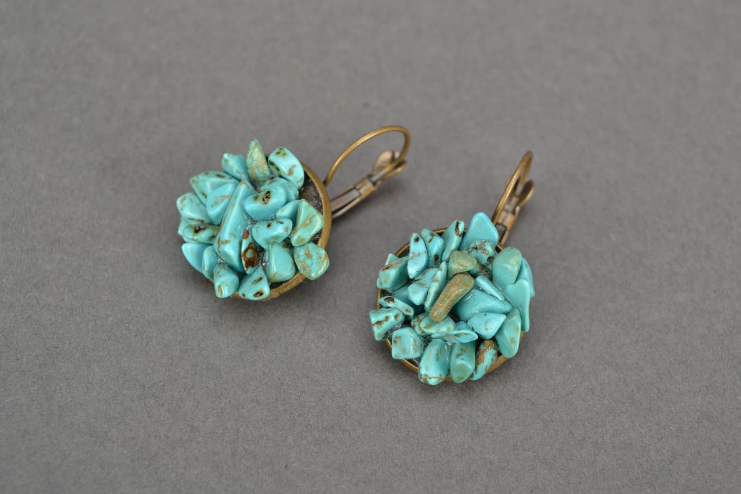 Turquoise round earrings photo 1