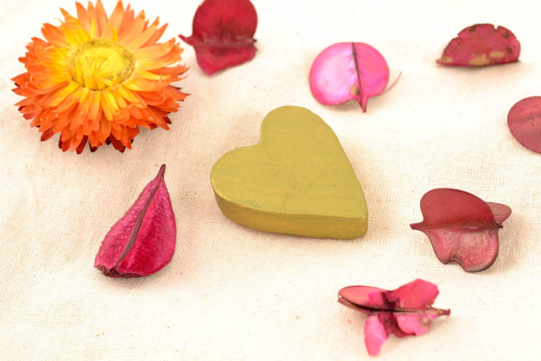 Ceramic fridge magnet in the shape of lime heart photo 2
