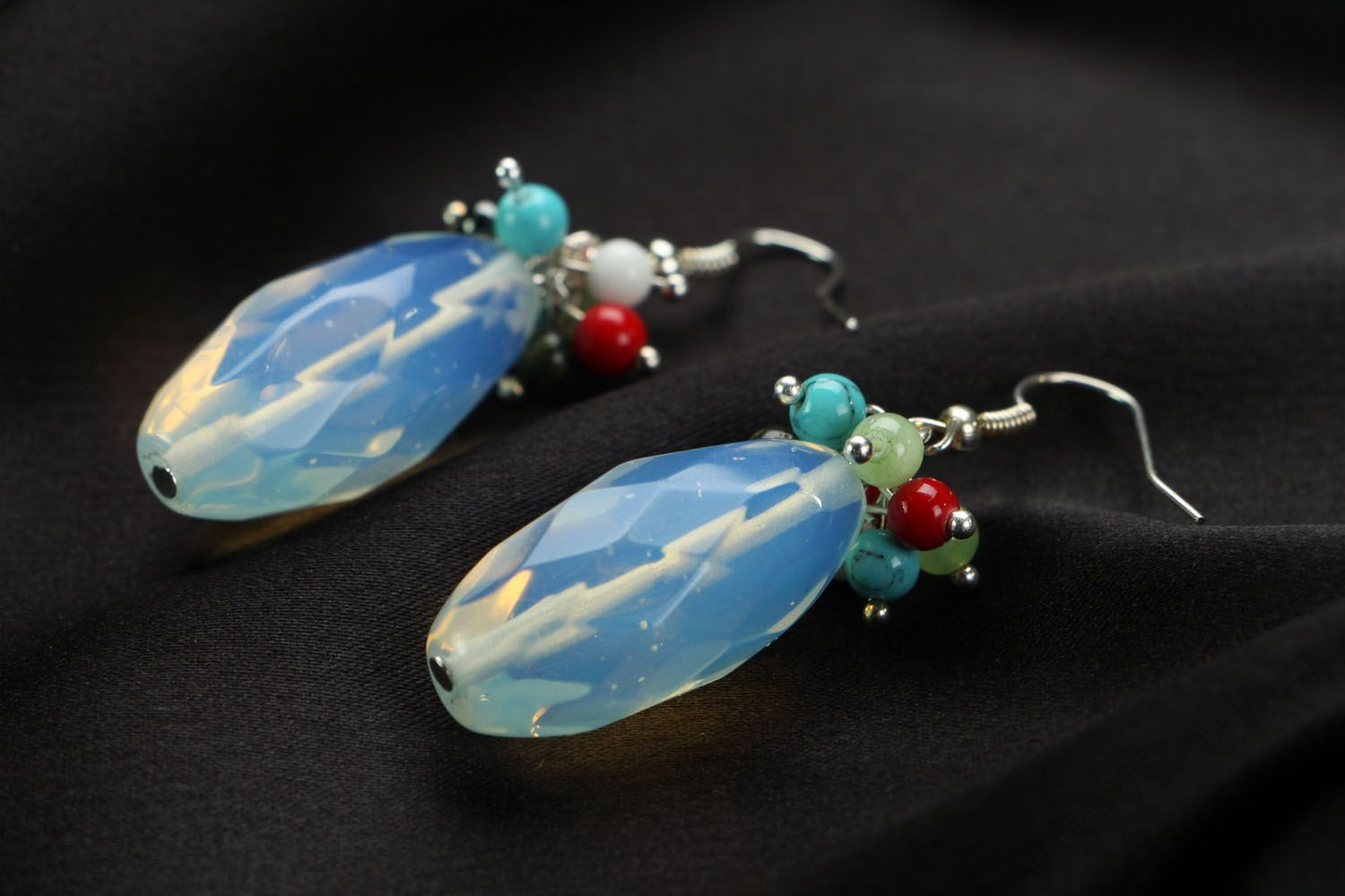 Earrings with moon stone photo 2