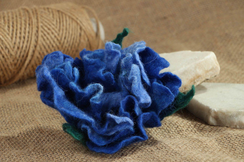 Schmuck Brosche aus Wolle Blaue Pfingstrose foto 5