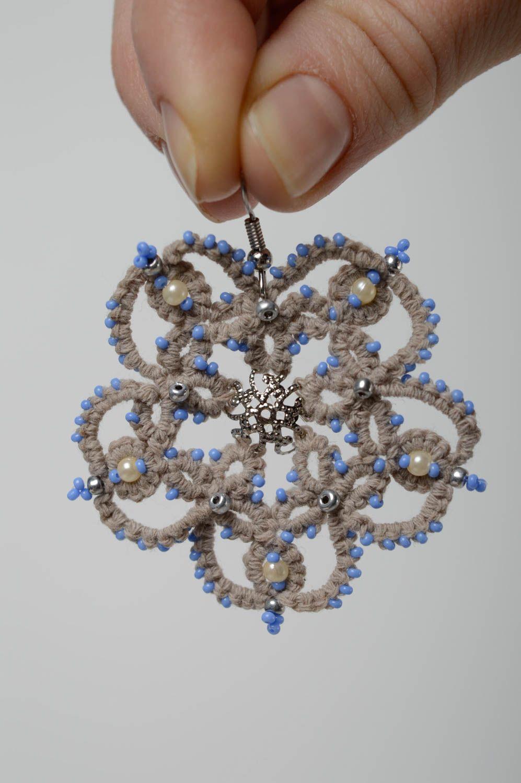 Lace crochet earrings photo 4