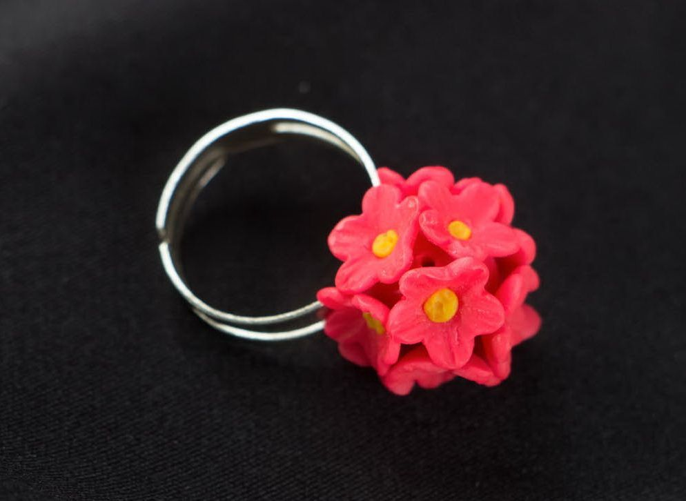 Polymer clay ring Pink Forget-me-nots photo 1
