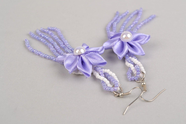 Braided handmade long purple earrings made of satin with flower photo 5