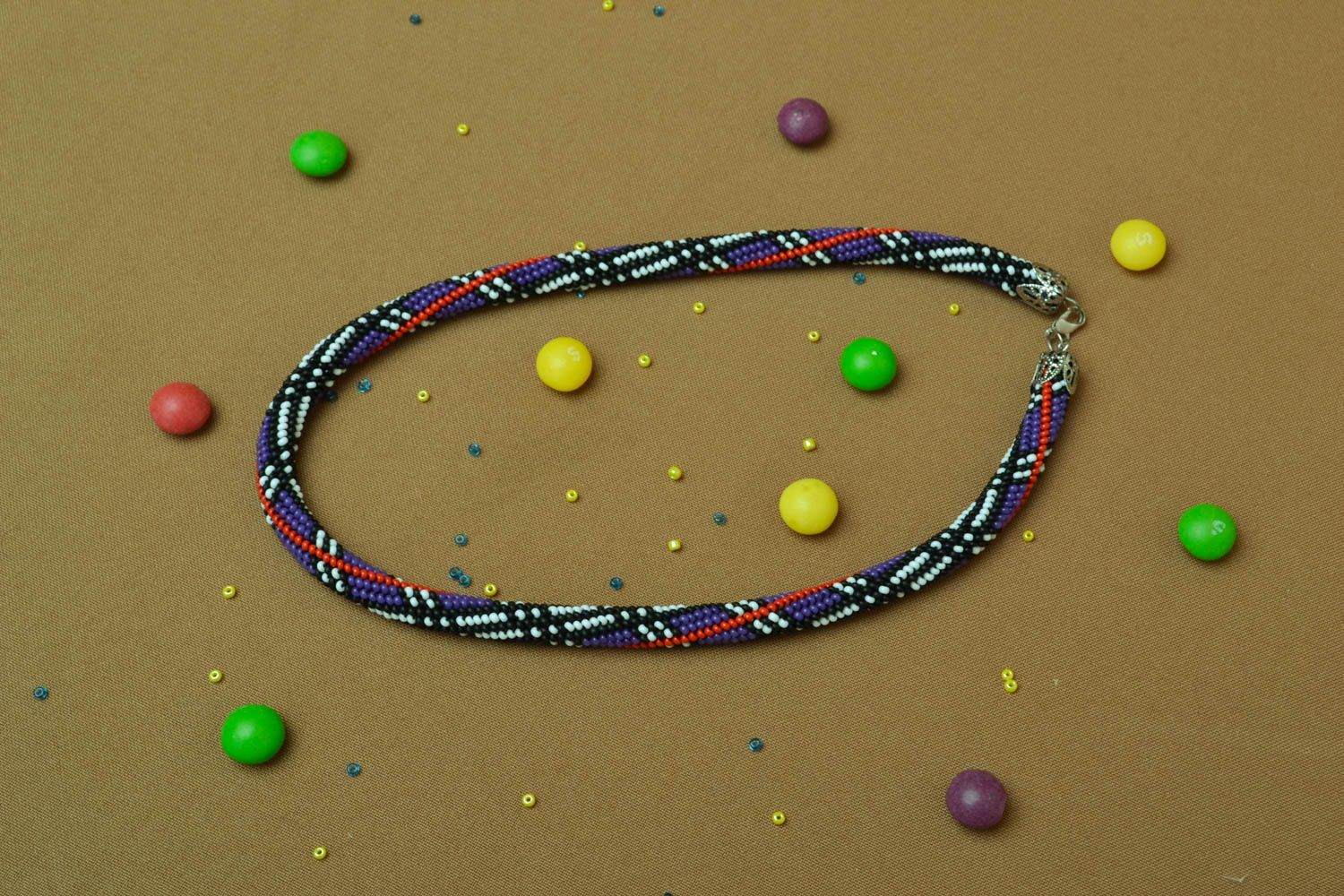 Beaded cord necklace Geometry photo 5