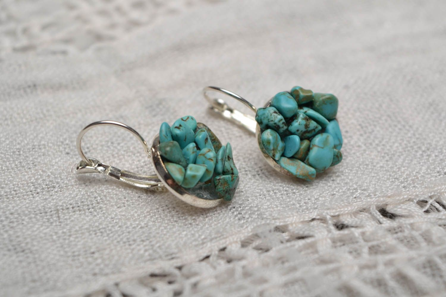 Handmade turquoise earrings photo 1