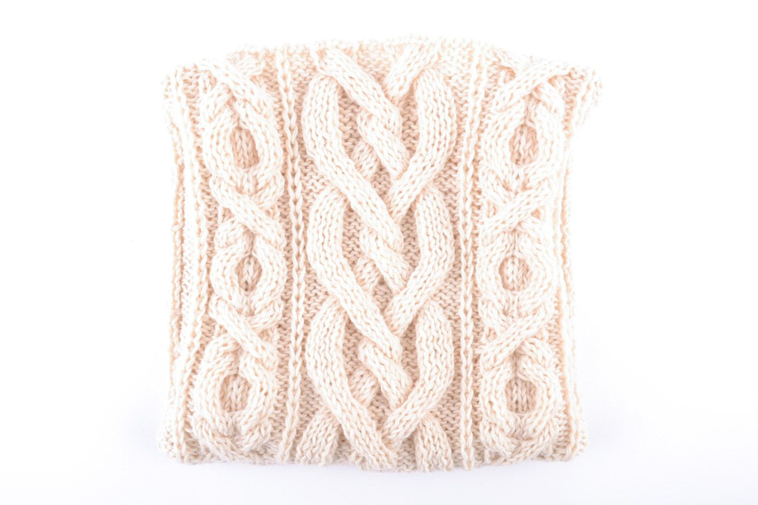 Small handmade cushion cover knitted of beige semi-woolen threads with zipper photo 2