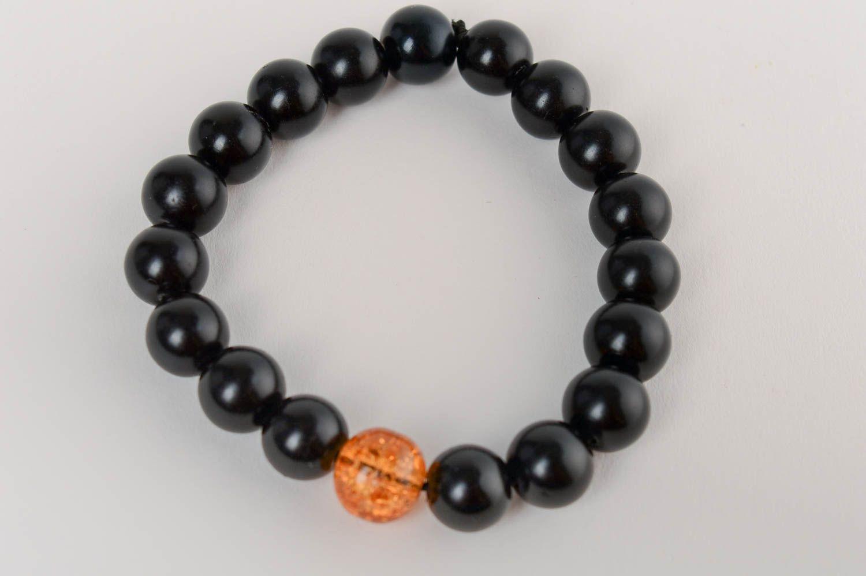 Черный браслет из керамического жемчуга ручной работы с венецианским стеклом фото 4