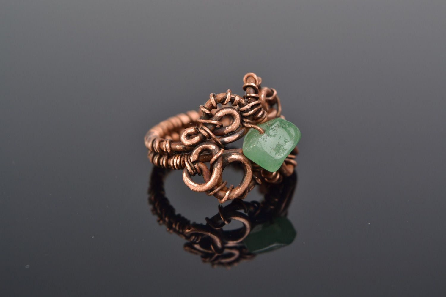 MADEHEART > Handmade designer wire wrap copper ring with natural ...