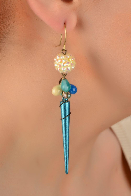 Handmade designer long earrings woven of Czech glass and acrylic beads photo 5