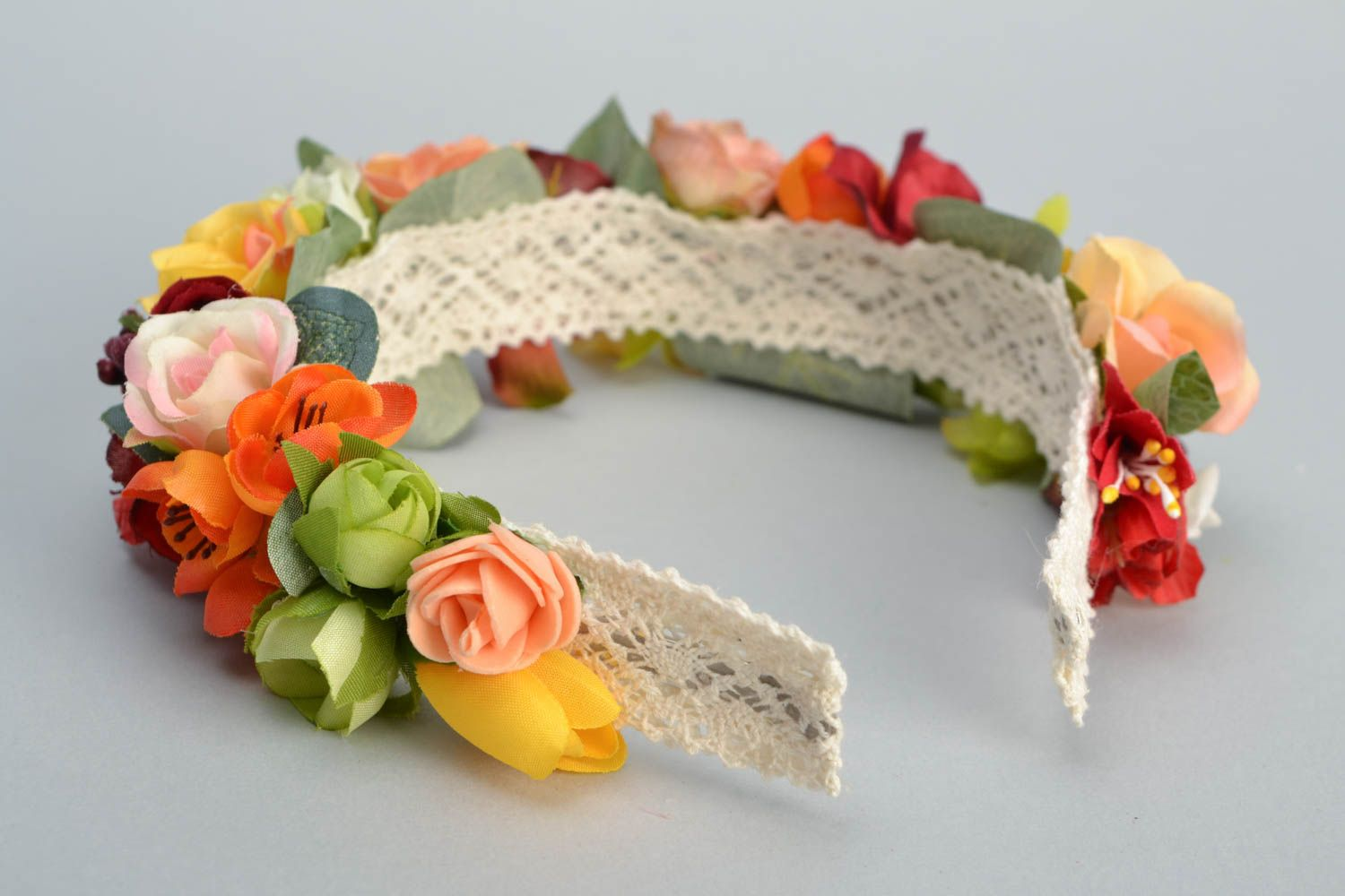 Floral headband made of foamiran and lace photo 5