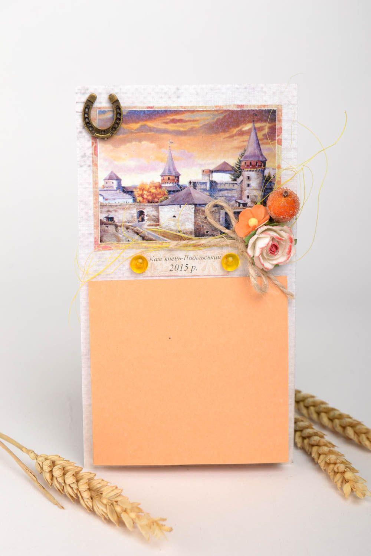 Handmade designer paper postcard stylish postcard with decor unusual souvenir photo 1
