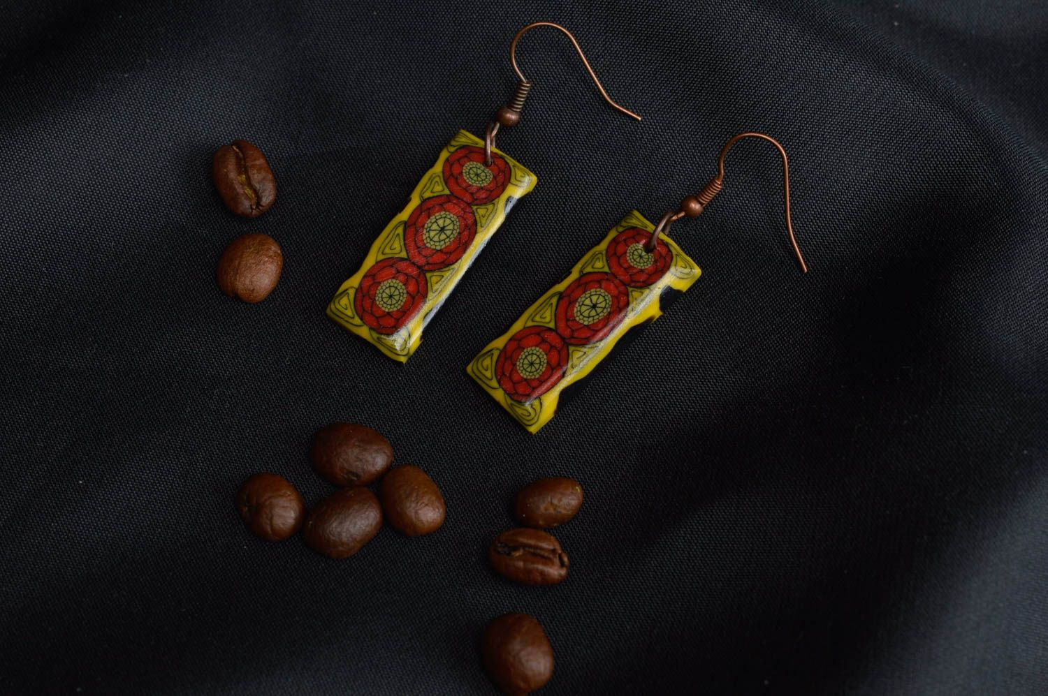 Polymer clay earrings handmade designer accessory for girls plastic bijouterie photo 1