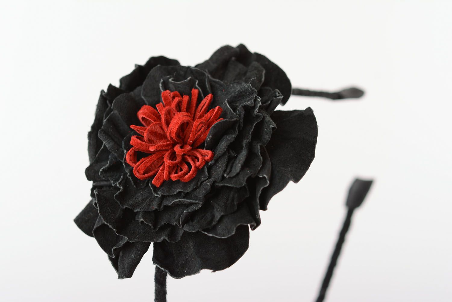 Leather hair band with flower photo 5