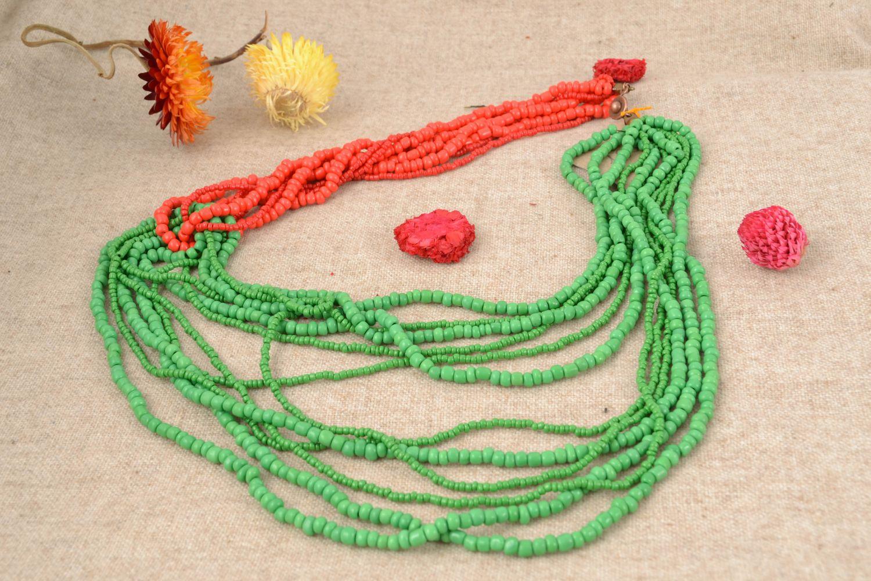 Mehrreihige Halskette aus Glasperlen rot-grün foto 1