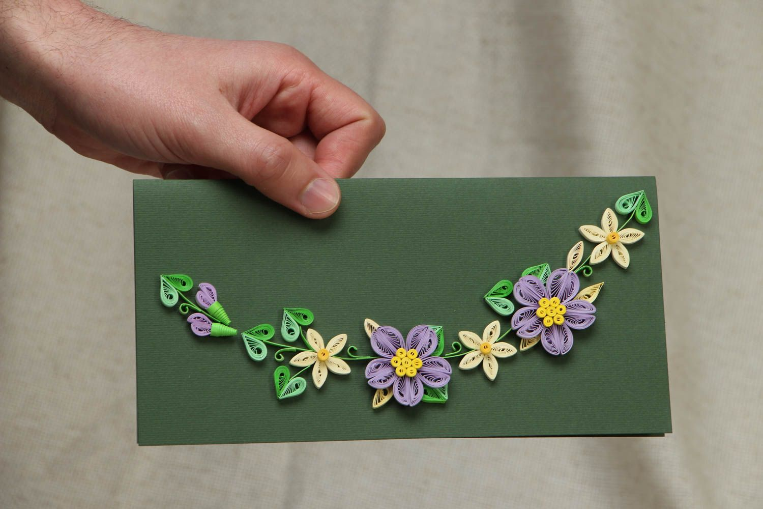 Long greeting card with flowers photo 4