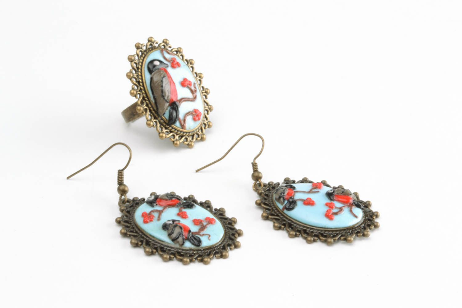 Polymer clay jewelry set Bullfinches photo 3