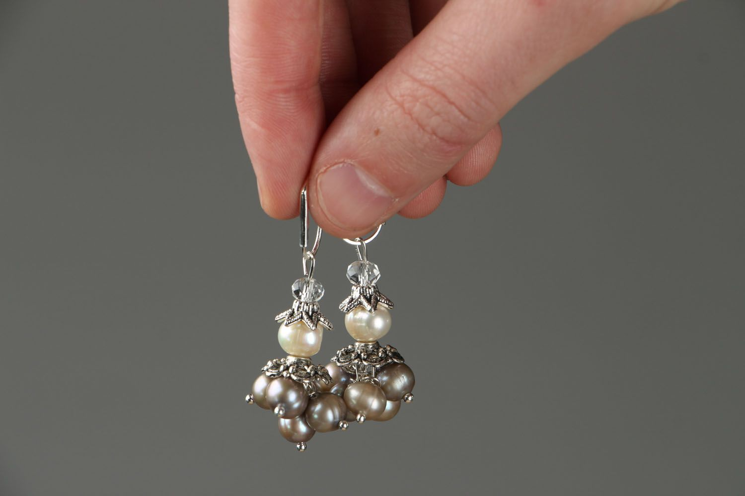 Earrings with whire river pearls photo 3