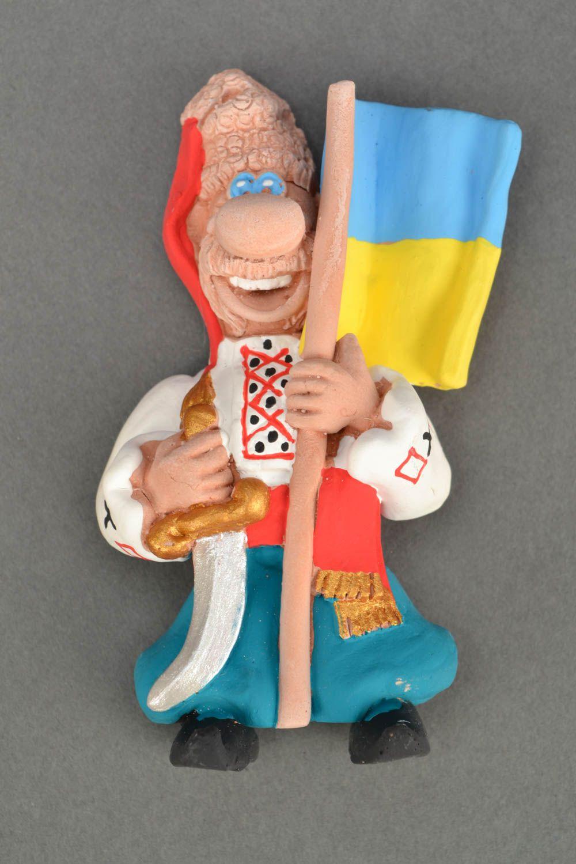 Ceramic fridge magnet Cossack with flag photo 5