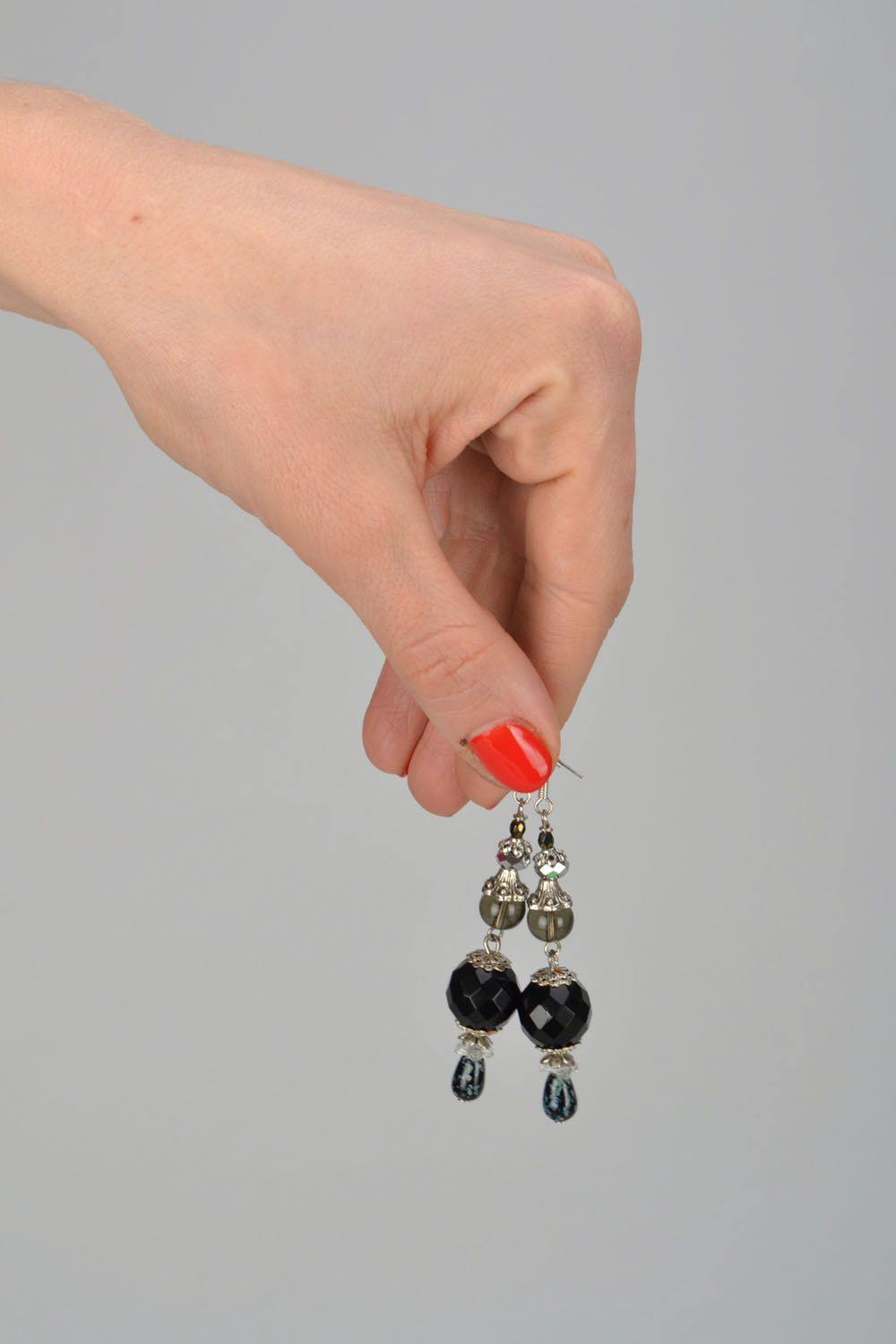 Black glass earrings photo 2