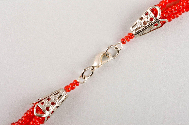 Колье из бисера украшение ручной работы красное многорядное ожерелье из бисера фото 4