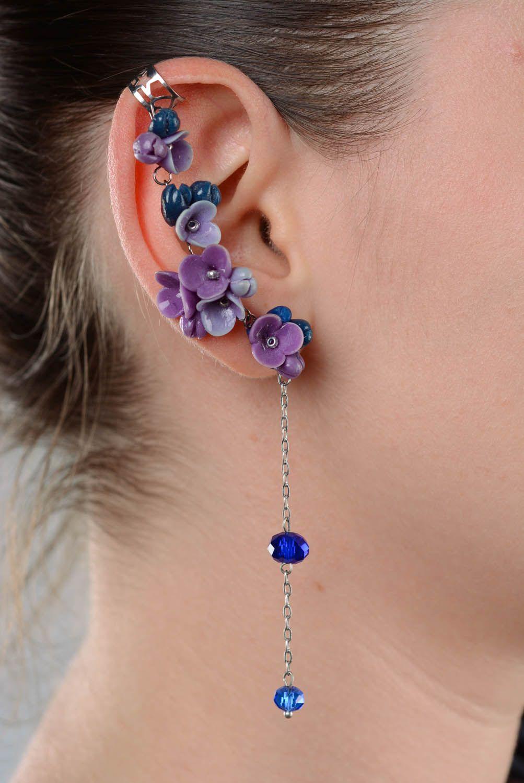 Beautiful cuff earrings Violets photo 3