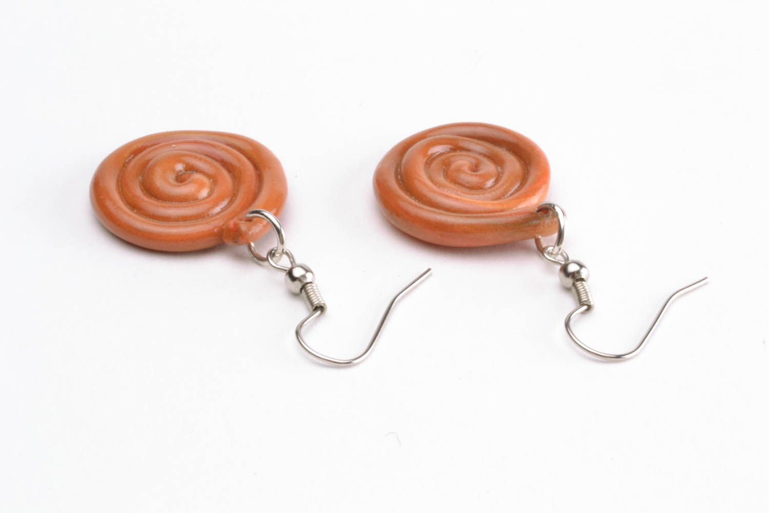 Polymer clay earrings Spiral photo 2