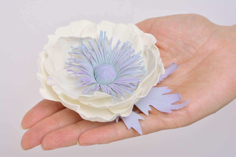 Handmade designer hair clip brooch with large foamiran flower White Poppy photo 4