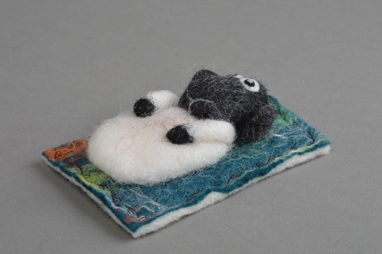Handmade funny small decorative fridge magnet felted of natural wool lamb photo 2