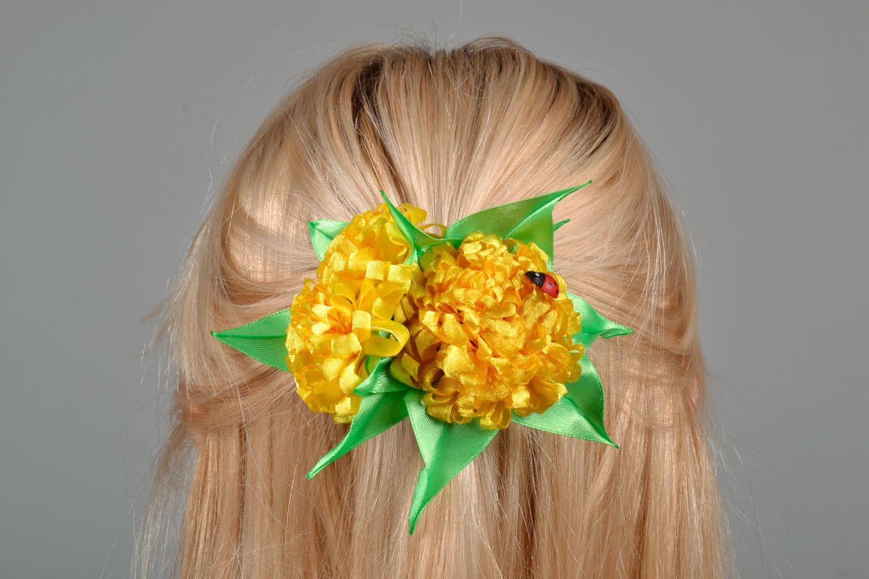 Hair clip made using kanzashi technique Yellow Flowers photo 1