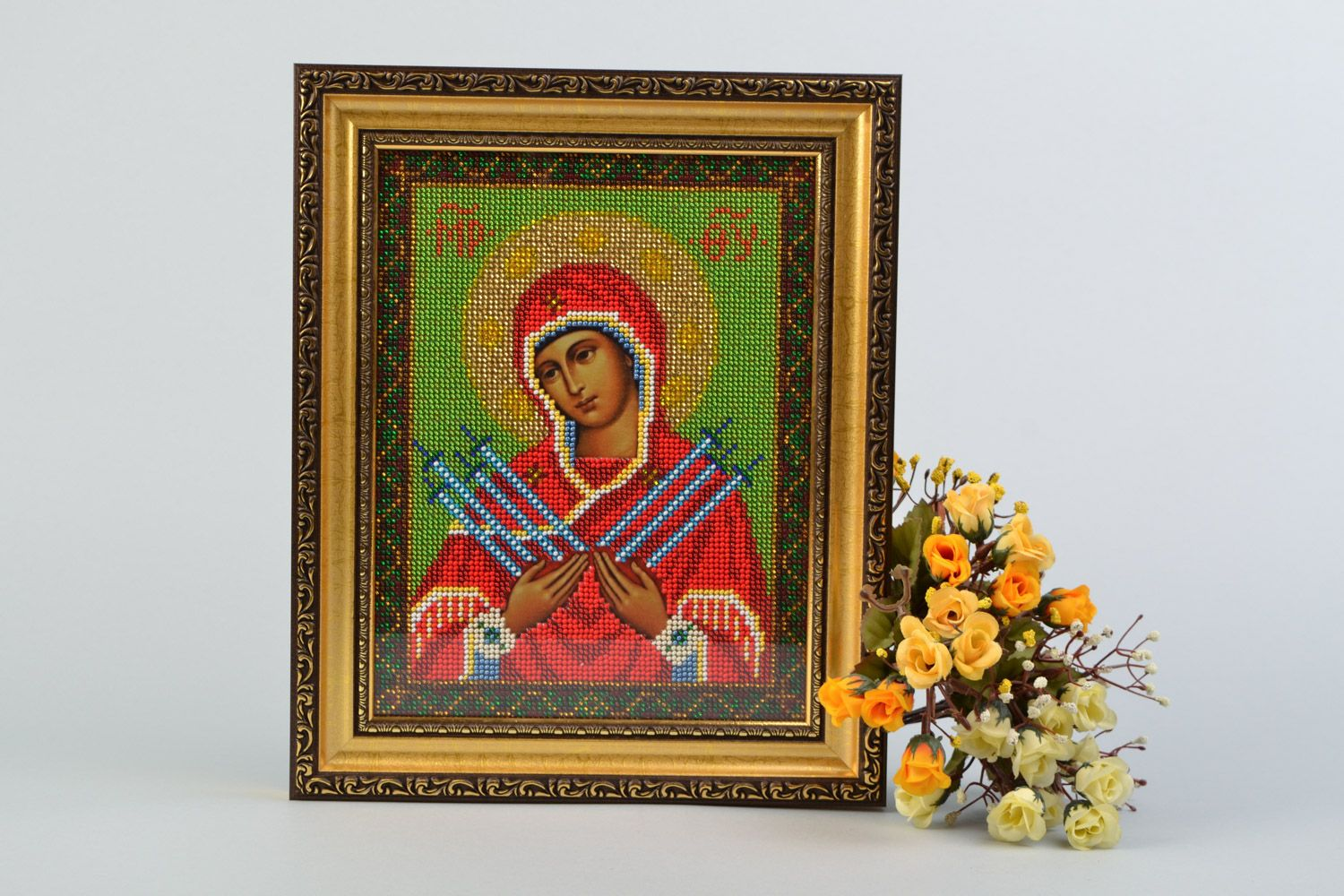 Handmade icon of the Mother of God of Ostrobram embroidered with beads in frame photo 1