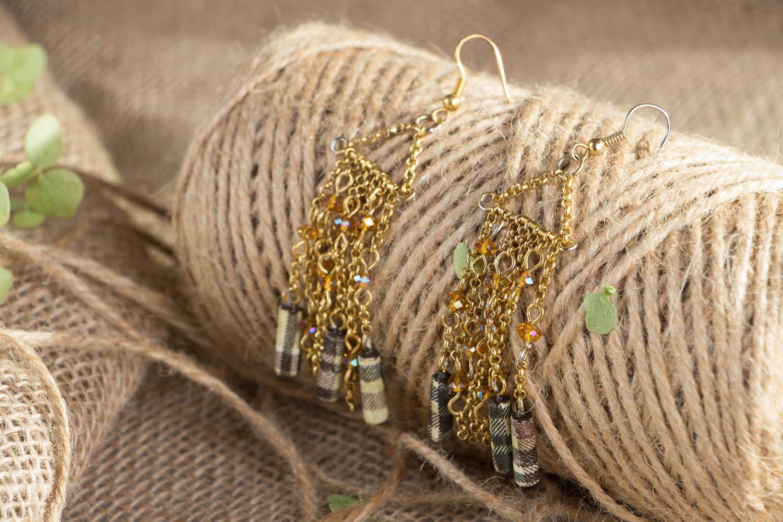 Metal earrings with beads photo 3