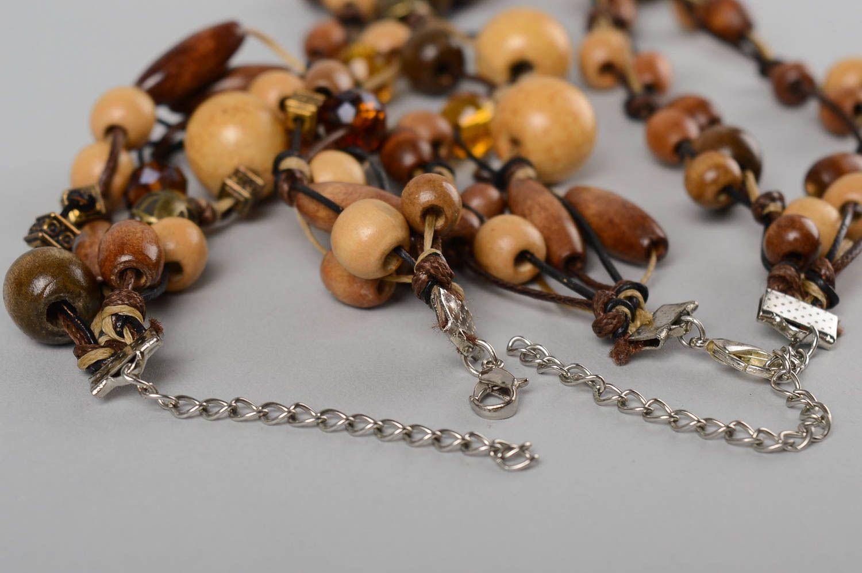 Деревянные украшения ручной работы деревянные бусы длинные женский браслет фото 5