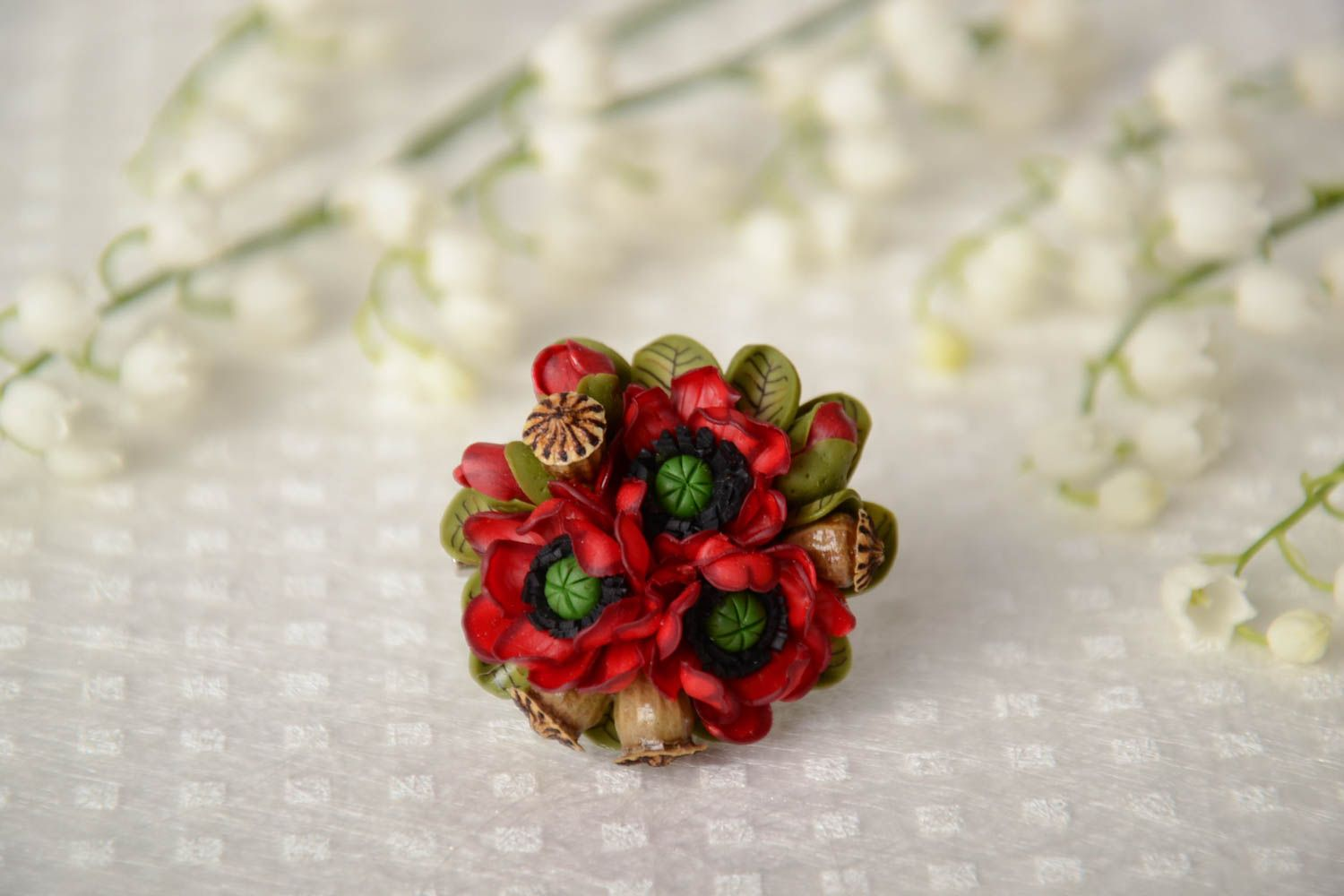 Madeheart Handmade Volume Brooch Bright Red And Green Polymer Clay