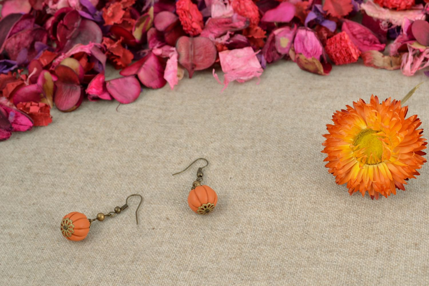 Polymer clay earrings of unusual shape photo 4