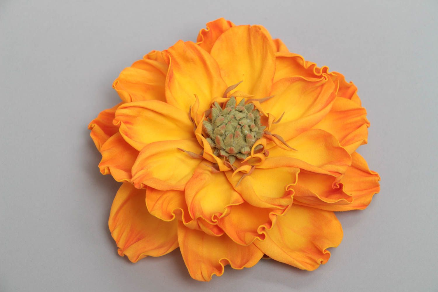 Yellow handmade designer textile foamiran flower for brooch or hair clip making photo 2