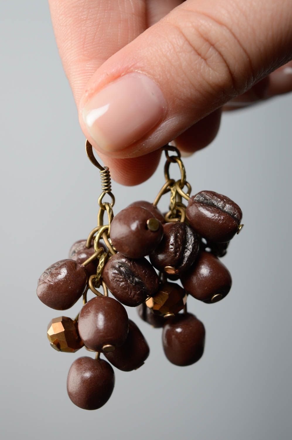 Polymer clay earrings Coffee Beans photo 5