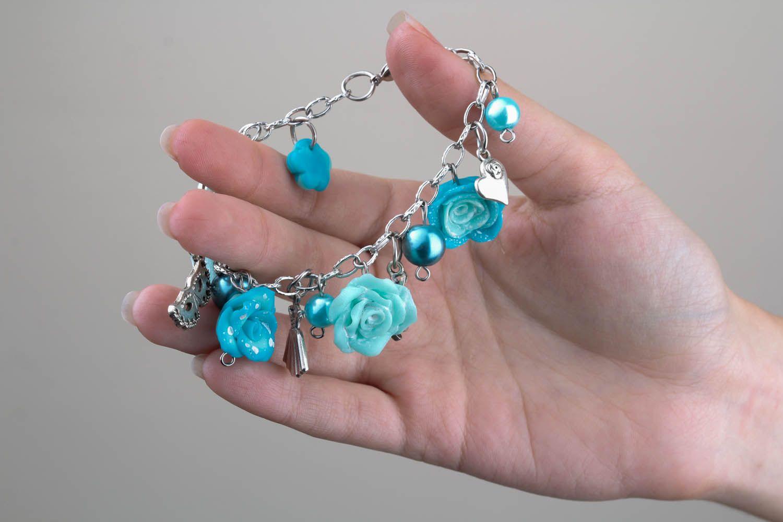 Polymerton Armband Blaue Rosen foto 5