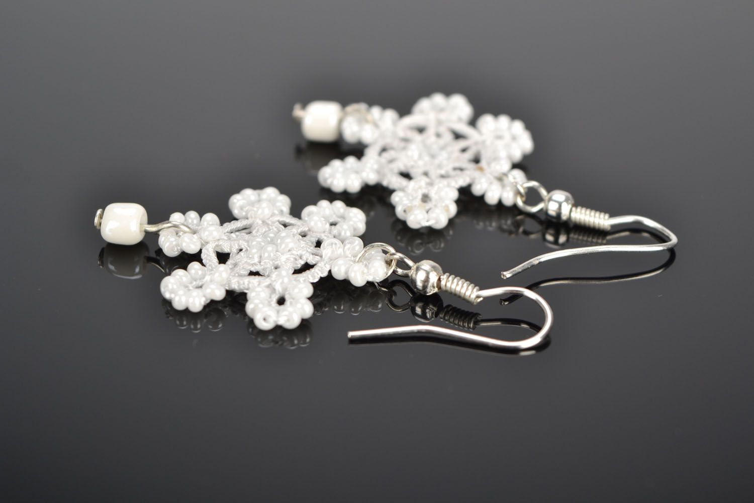 Earrings made using tatting technique Snowflakes photo 1