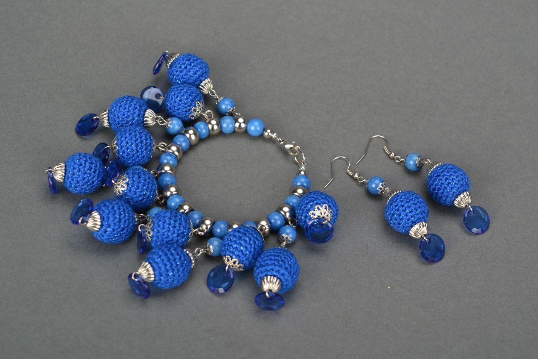 Set of blue crocheted jewelry photo 1