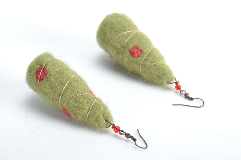 Wool earrings Christmas Trees photo 4