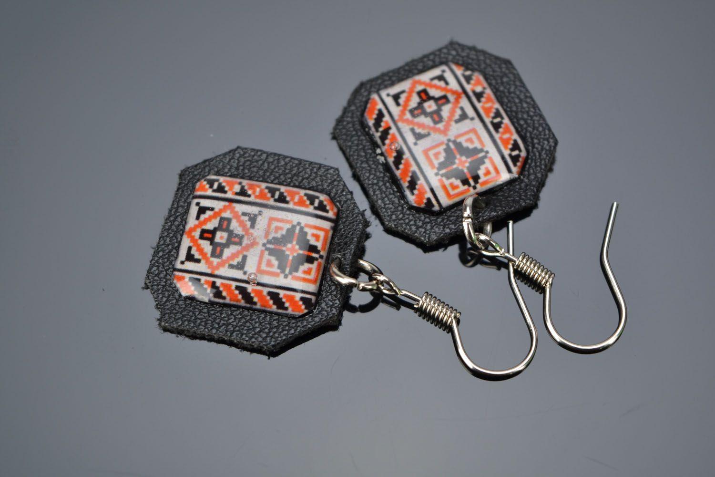 Ethno style leather earrings Vyshyvanka photo 1