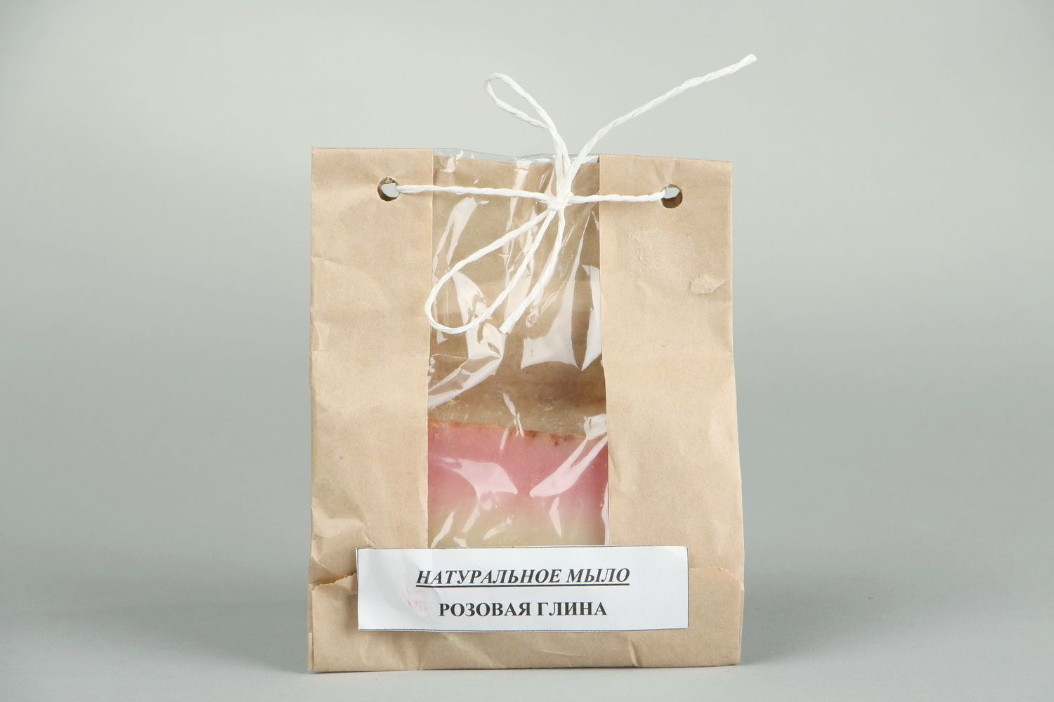 Handmade soap with a pink clay photo 2
