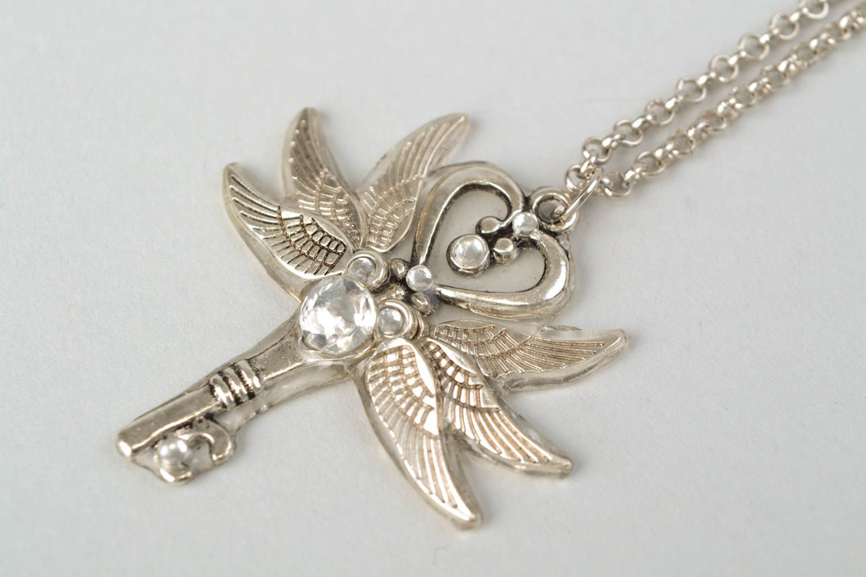 Handmade metal key pendant photo 3
