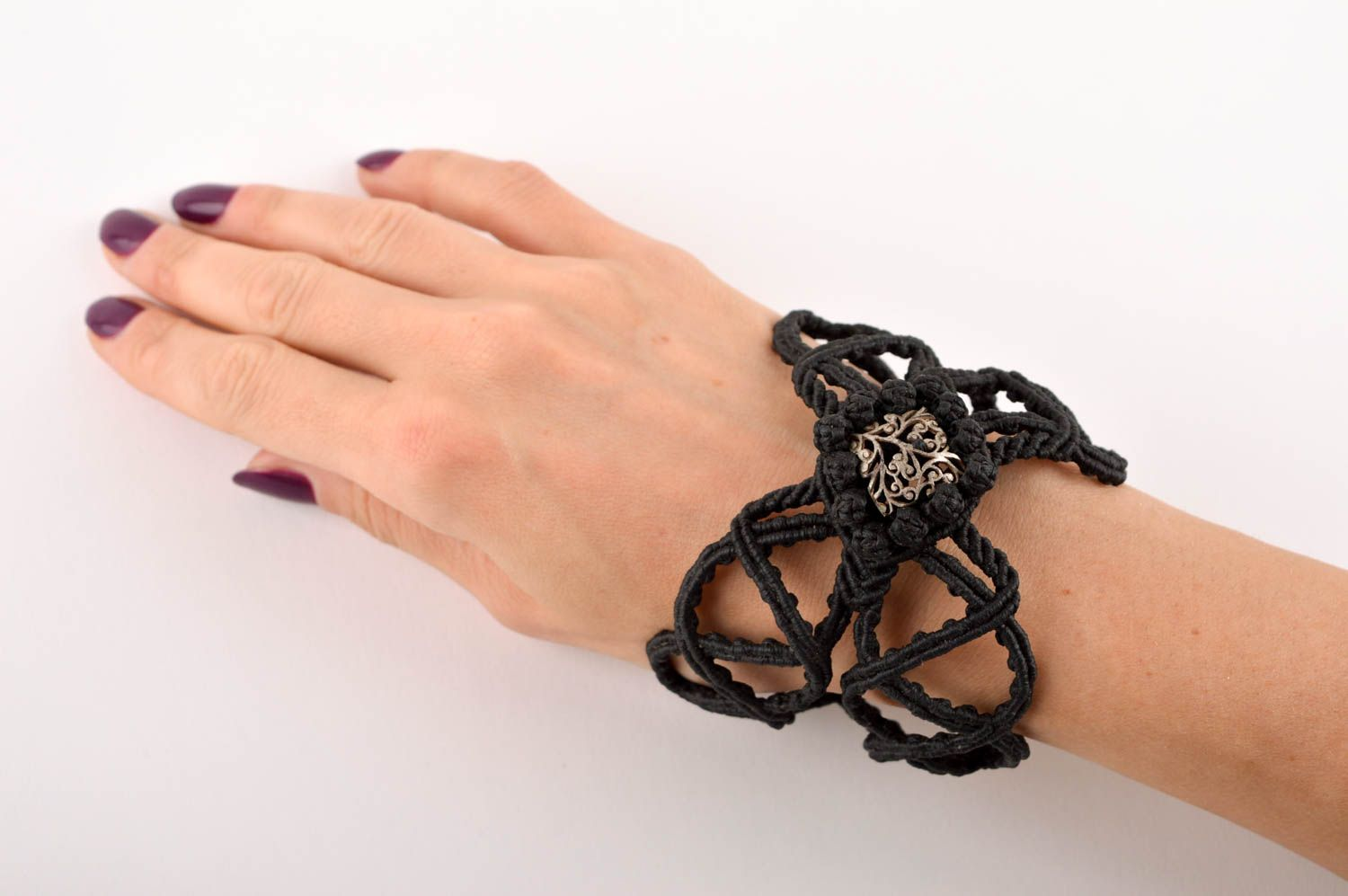 Unusual handmade macrame bracelet textile wrist bracelet fashion accessories photo 5