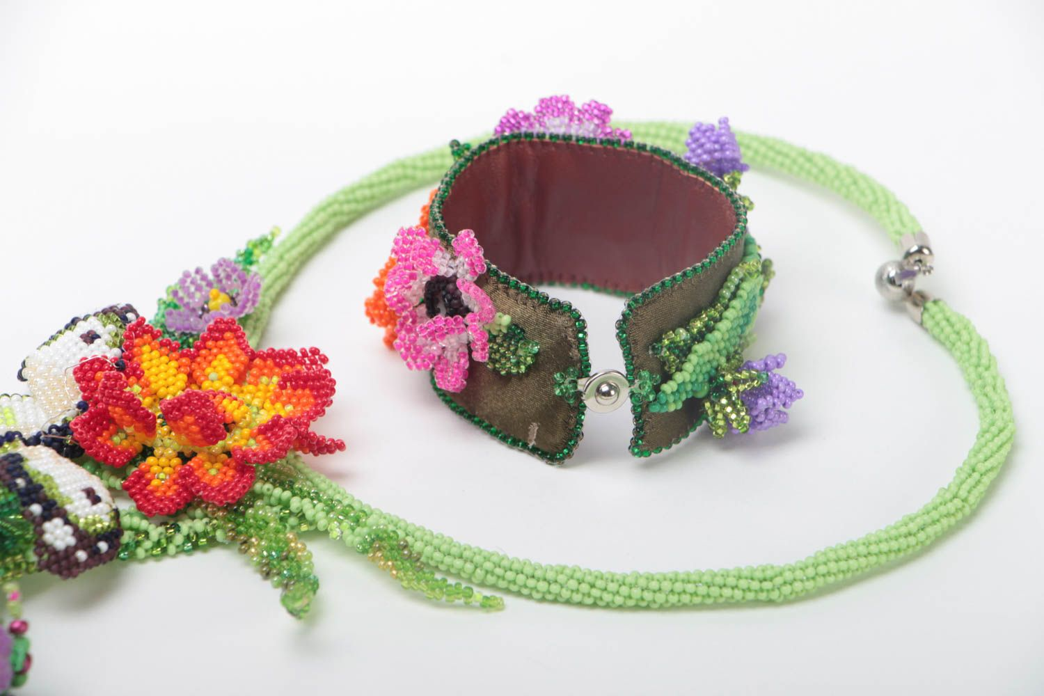 Set of handmade jewelry beaded necklace and bracelet massive flower accessories photo 4