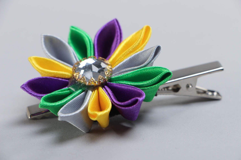 Handmade hair clip with colorful satin ribbon kanzashi flower with rhinestone photo 3