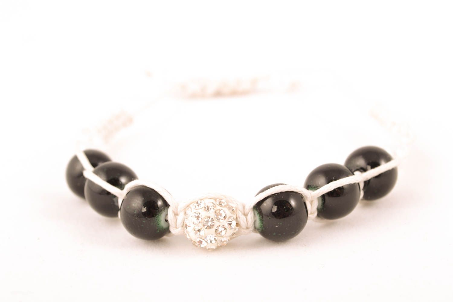 Woven bracelet with black beads photo 3